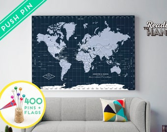 World map canvas etsy personalized push pin world map canvas navy ready to hang 240 pins 198 world flag sticker pack included gift for travel gumiabroncs Image collections