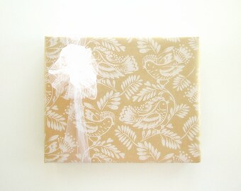 White Song Birds on Kraft Wedding Wrapping Paper 10 ft x 24 inch Roll,  Baby Shower Wrapping Paper, Bridal Shower Wrap