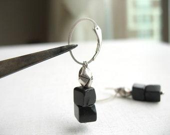 Black onyx cube earrings, geometric gift dangle, men black jewelry, silver and stone earrings, hill tribe silver, statement earring