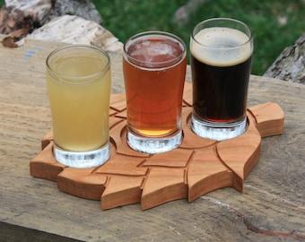 Beer Flight Paddle - Beverage Sampler Paddle - Cherry Wood - Custom Taster Paddle - Mancave - Homebrewer - Beer Drinker Gift -