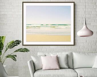 Beach Photography - Ocean Waves Print - Pastel Beach Art - Relaxing Wall Art - Minimal Beach Photograph 'Endless Beach'