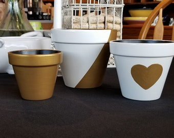 "Hand Painted Gold and White Flower Pots, 5"", 4"" & 3"""