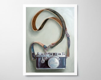 Vintage Film Camera - Fine Art Oil Painting Archival Giclee Print Decor by Artist Lauren Pretorius