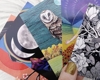 Artist Trading Cards (Single Card or Sets, Random selection) - ACEO, Mini Prints, Small Art, Collectible Art, Art Prints, Illustration, Gift