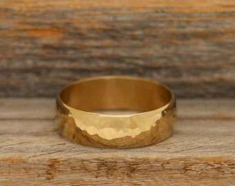 24k Heavy Deposition Gold Plated Hammered Band