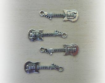 4 guitar 32 * 10 mm silver metal charms