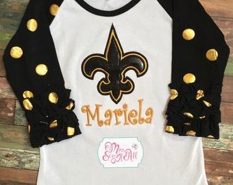 Girls Black and Gold Ruffled Fleur De Lis Raglan Shirt, Girls Fleur De Lis Shirt, Custom Fleur De Lis Shirt