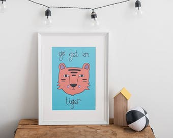 Motivational Print, Children's Wall Art, Bedroom Print, Living room art, Tiger Illustration, Blue Print, Jungle theme, Motivational Poster