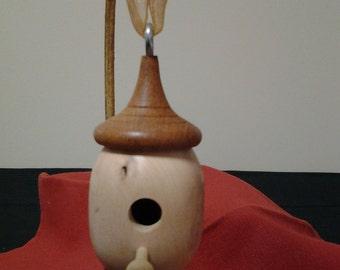 Handmade Wood-Turned Dogwood and Mahogany Birdhouse Ornament