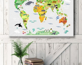 Animal world map etsy animal world map for baby room nursery room world map wall art canvas gumiabroncs Image collections
