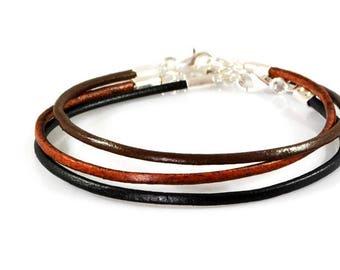 Mens Simple Leather Bracelet. Unisex Bracelet. Mens Leather Silver Bracelet. Black, Brown, Leather Bracelet. Leather Jewelry. Boyfriend Gift