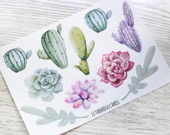 Watercolour Succulent Decorative Stickers; Cactus Stickers; Succulents Stickers; Flower Stickers; Planner Stickers; Filofax; ECLP