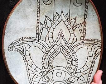 Hand carved shallow Hamsa bowl