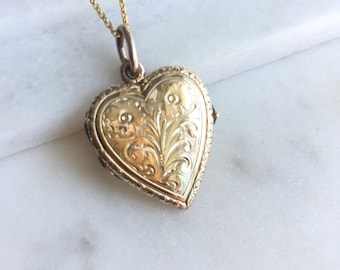Victorian Gold Heart Locket Pendant Necklace