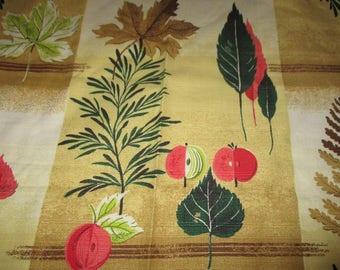Vintage Barkcloth Fabric, Salesman Sample Barkcloth Fabric Sample, Leaves, Apples