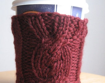 Burgundy Cable Filled Oval Knit Coffee Cup Cozy, Knit Coffee Sleeve. Knit Mug Cozy