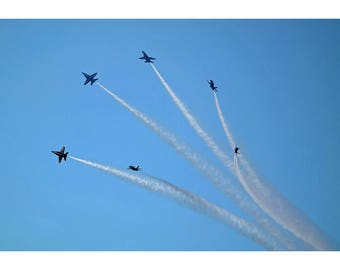 Blue Angels F-18 Formation - Airplane Poster - Plane Print - Military Jet Photo