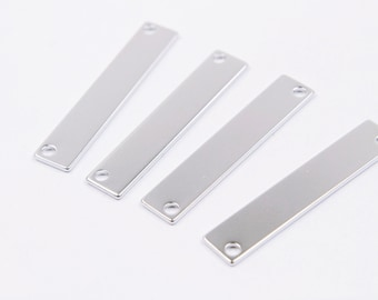 MARKDOWNS, Bar charm, A16-S1, 20 pcs, 2 holes, 36x7mm, Matte rhodium plated brass, Necklace / Bracelet stamping bar, Brass blank tags