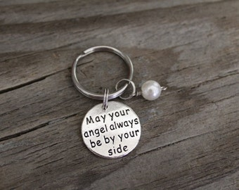 May Your Angel Always Be By Your Side - Memorial Keyring/Keychain/Zipper Pull-Lost Father-Lost Mother-Lost Husband-Lost Wife - Child - I/B/H
