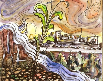 Growth. Original pen and wash painting of abstract landscape of nature and cityscape. Surrealistic.