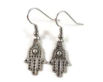 Hamsa Hand Earrings, Yoga Jewelry, Fatima Hand Earrings, Metal Charm Earrings, Gifts Under 5 Dollars, Gift Idea, Women's Jewelry