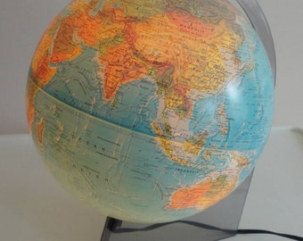 80s World Map Clear Smoked Lucite Base Table Lamp