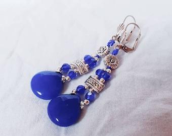 Silver and jade earrings cobalt blue.