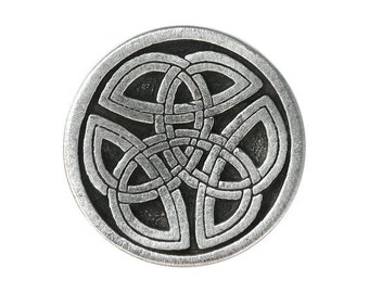 2 Round Celtic Tri Knot 1 inch ( 25 mm ) Pewter Metal Buttons