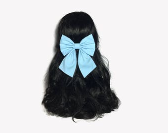 Light Blue Baby Bow, Baby Blue Hair Bow, Light Blue Hair Bow, Belle Cosplay, Light Blue Bow, Hair Bows For Girls, Blue Hair Accessories