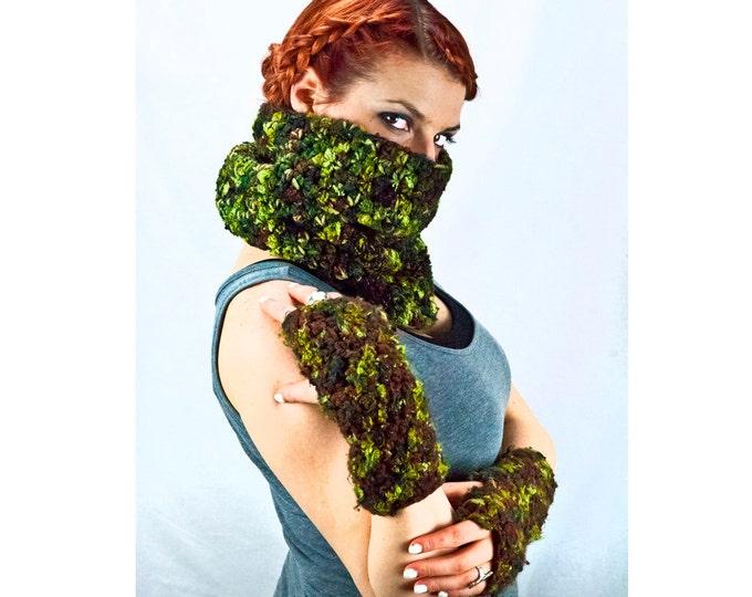 Infinity Scarf Green and Brown Cowl  Camouflage Hunter Chunky Handmade Christmas Gift Ready to ship