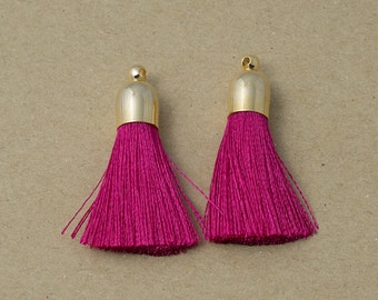 Fuchsia Cotton Tassel, Jewelry Supplies, Simple Tassel Polished Gold Plated Over Brass - 2 pieces-[GP0001]-FUCHSIA/PG