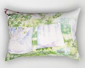 Rectangular Throw Pillow, A Summer Breeze Clothesline