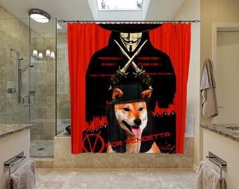 Shiba Inu Art Shower Curtain, Dog Shower Curtains, Bathroom Decor - V For Vendetta Movie Poster