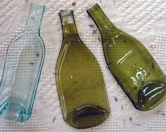 Recycled 3 Piece Melted Wine Bottle Set Flattened Slumped
