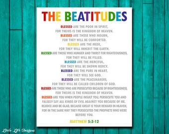 The Beatitudes. Christian Wall Art. Sunday School Decor. Matthew 5:3-12. Christian Decor. Church Wall Art. Bible Verse. Scripture. Jesus Art