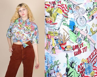 90s America Tourist Top - Large // Vintage Novelty Button Up Collared Shirt