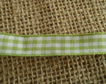 Two yards of Ribbon synthetic lime gingham and white 10 mm wide