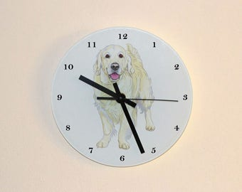 Golden Retriever, wall clock with dog, hanging home decoration