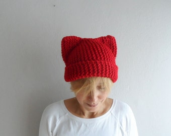 Red Cat Beanie, Cat Ear Hat, Cat Ear Beanie, Red Cat Hat, Chunky Knit Cat Hat, Womens Accessories, Winter Hat, Christmas Gift