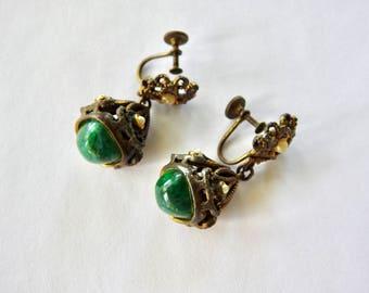 Antique Art Deco Glass Brass Earrings