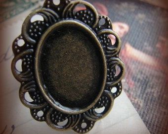 Antique bronze blank ring bases