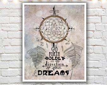 dream catcher print - typography print - inspirational quotes