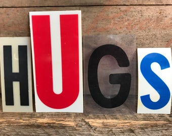 HUGS set of 4 vintage marquee letters in thin plastic