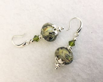 20% off St Patricks Day Sale, earrings, glass, bead, lampwork, crystal, silver, original, handmade, gift, Sassy Shack Designs, jewelry,,