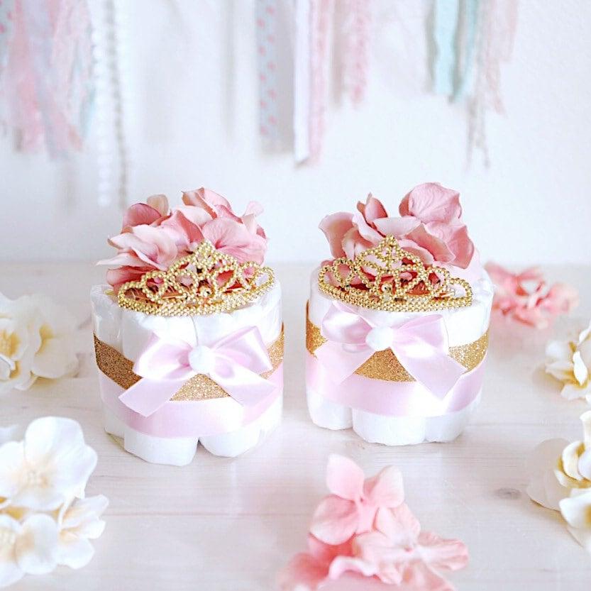 Pink gold princess mini diaper cake