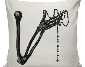 Halloween Skeleton Rosary Cushion Pillow Cover cotton canvas throw pillow 18 inch square #UE0125 Urban Elliott