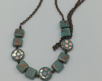Copper Dots and Turquoise Czech Glass Beads Necklace \\Boho Jewelry\\Polka Dots   Product ID: PD417