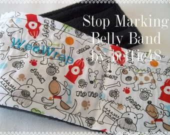 Dog Diaper Belly Band, FAST Shipping, Red Fire Hydrant, Stop Marking, Personalized