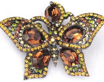 BUTTERFLY BROOCH JoSE MARiA BARRERA  Fall Rhinestones  Vintage Pin Art Deco 1950 1960 1940 Christmas Gift Vlv Parure Madmen Mods