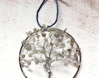 Chakra Suncatcher, Labradorite Tree Suncatcher, Wire Tree Hanging
